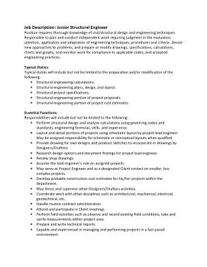 Free Download PDF Books, Junior Structural Engineer Job Description Template