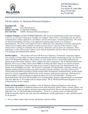 Free Download PDF Books, Sr. Mechanical Structural Engineer Job Description Template