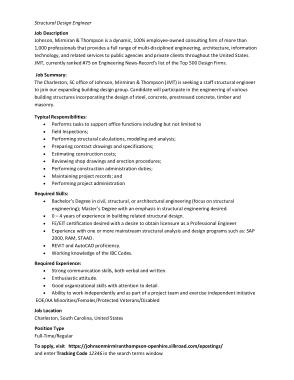 Structural Design Engineer Job Description Example Template