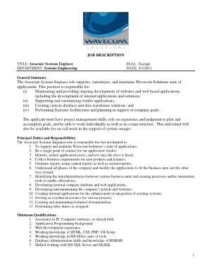 Free Download PDF Books, Associate System Engineer Job Description Template