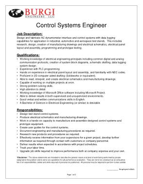 Free Download PDF Books, Control System Engineer Job Description Template