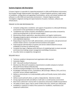 Free Download PDF Books, System Engineer Job Description Template