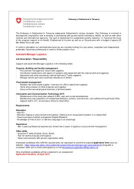 Free Download PDF Books, Logistics Manager Assistant Job Description Template
