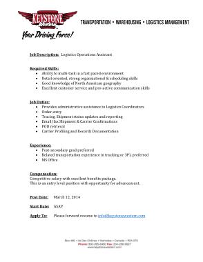 Free Download PDF Books, Logistics Operations Assistant Job Description Template