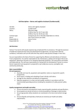 Free Download PDF Books, Stores And Logistics Assistant Job Description Template