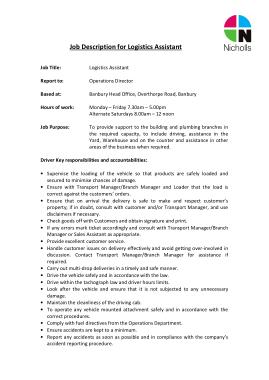 Free Download PDF Books, Warehouse Logistics Assistant Job Description Template