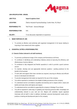 Free Download PDF Books, Logistics Office Clerk Job Description Format Template