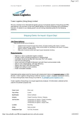 Free Download PDF Books, Logistics Shipping Clerk Job Description Template