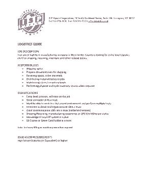Free Download PDF Books, Sample Logistics Clerk Job Description Template