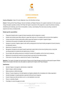 Free Download PDF Books, CTG Logistics Coordinator Job Description Template