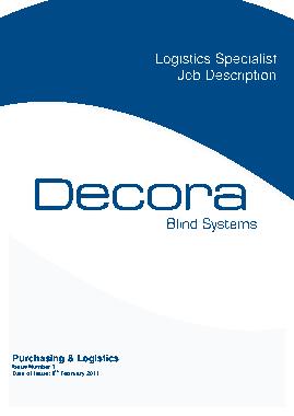 Free Download PDF Books, Decora Logistics Specialist Job Description Template