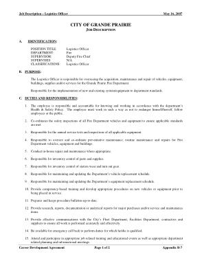 Free Download PDF Books, Logistics City Officer Job Description Template