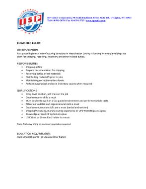 Free Download PDF Books, Logistics Clerk Job Description Template