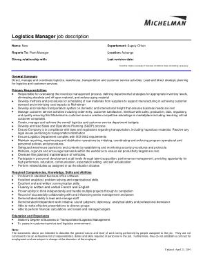 Free Download PDF Books, Logistics Manager Job Description Example Template