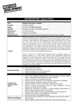 Free Download PDF Books, Logistics Officer Job Description Sample Template