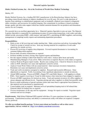 Free Download PDF Books, Material Logistics Specialist Job Description Template