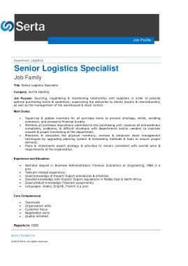 Free Download PDF Books, Sample Senior Logistics Specialist Job Description Template