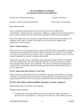 Free Download PDF Books, Lead Warehouse Associate Job Description Template