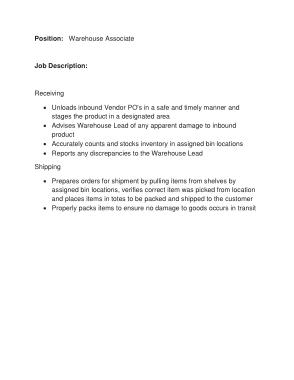 Free Download PDF Books, Sample Warehouse Associate Job Description Template