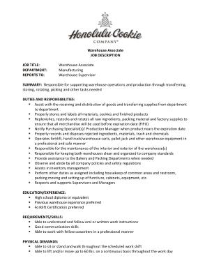 Free Download PDF Books, Warehouse Inventory Associate Job Description Template