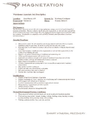 Free Download PDF Books, Warehouse Production Associate Job Description Template