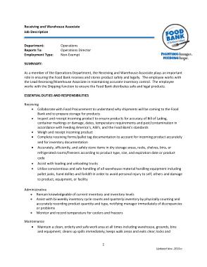 Free Download PDF Books, Warehouse Receiving Associate Job Description Template