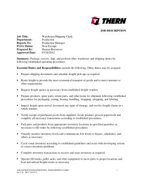 Free Download PDF Books, Warehouse Shipping Associate Job Description Template