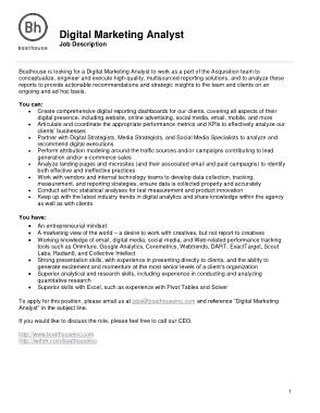 Free Download PDF Books, Digital Marketing Analyst Job Description Template