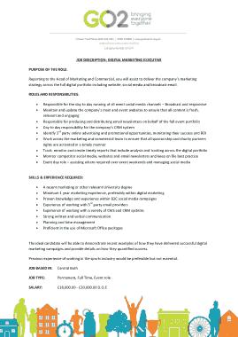 Free Download PDF Books, Digital Marketing Executive Job Description Template