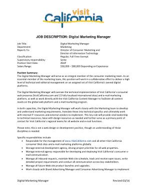 Free Download PDF Books, Digital Marketing Manager Job Description Format Template