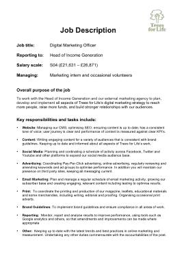 Free Download PDF Books, Digital Marketing Officer Job Description Template
