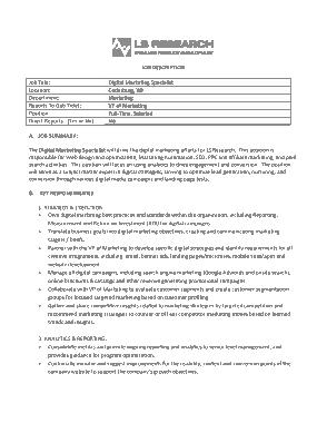 Free Download PDF Books, Digital Marketing Specialist Job Description Template