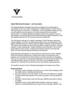 Free Download PDF Books, Digital Marketing Strategist Job Description Template