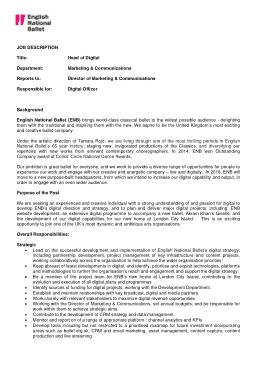 Free Download PDF Books, Sample Head of Digital Marketing Job Description Template