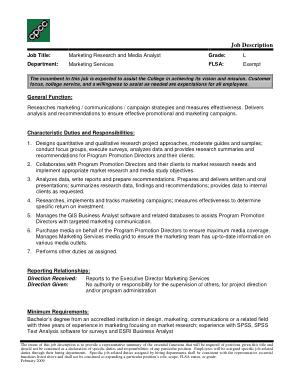 Free Download PDF Books, Marketing Media Analyst Job Description Template