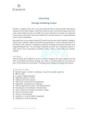 Free Download PDF Books, Strategic Marketing Analyst Job Description Template