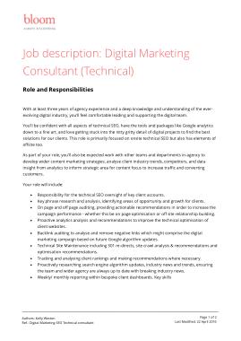 Free Download PDF Books, Digital Marketing Consultant Job Description PDF Template