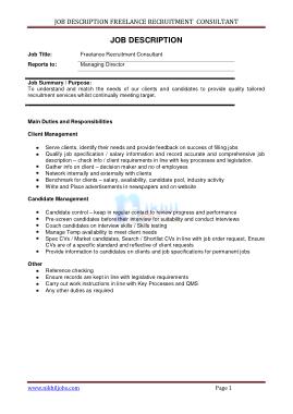 Free Download PDF Books, Freelance Marketing Consultant Job Description Template