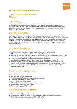 Free Download PDF Books, Direct Marketing Executive Job Description Template