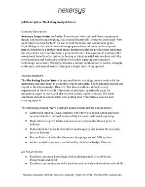 Free Download PDF Books, Marketing Analyst Intern Job Description Format Template