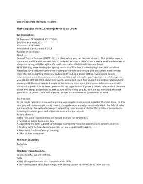 Free Download PDF Books, Marketing and Sales Intern Job Description Template