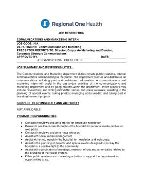 Free Download PDF Books, Marketing Communications Intern Job Description Template