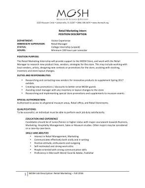 Free Download PDF Books, Retail Marketing Intern Job Description Example Template