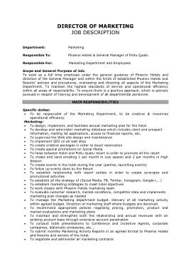 Free Download PDF Books, Marketing Director Job Description Template