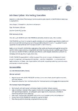 Free Download PDF Books, Marketing Executive Job Description Template