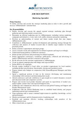 Free Download PDF Books, Marketing Specialist Job Description Template