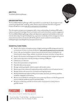 Free Download PDF Books, Social Media Marketing Job Description Template