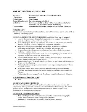 Free Download PDF Books, Marketing Media Specialist Job Description Example Template