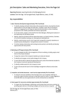 Sales and Marketing Job Description Example Template