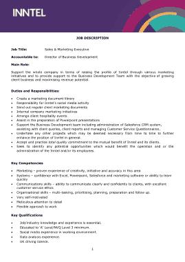 Job Description Sales and Marketing Executive Template